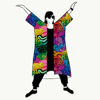 Groovy Rainbow Jersey kimono