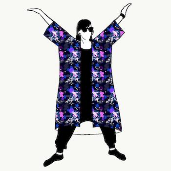 Koi Blue Jersey kimono