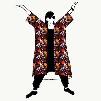 Koi Brown Jersey kimono