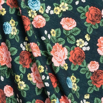 Poncho Babushka Roses Dark Blue