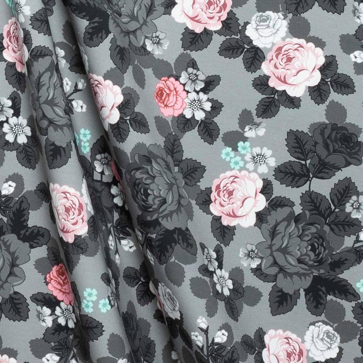 Poncho Babushka Roses Graydream