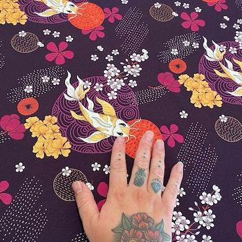 Koi Plum Jersey kimono