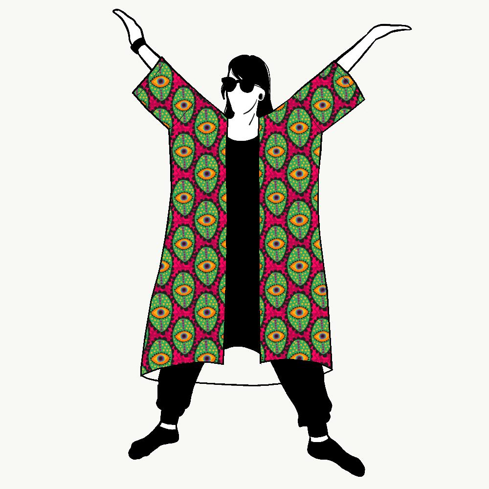 Boho Eyes Pink Jersey kimono