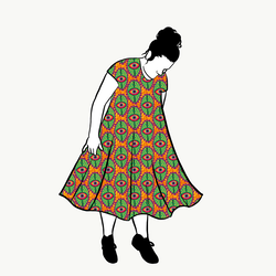 Boho Eyes Orange groove dress kort ärm