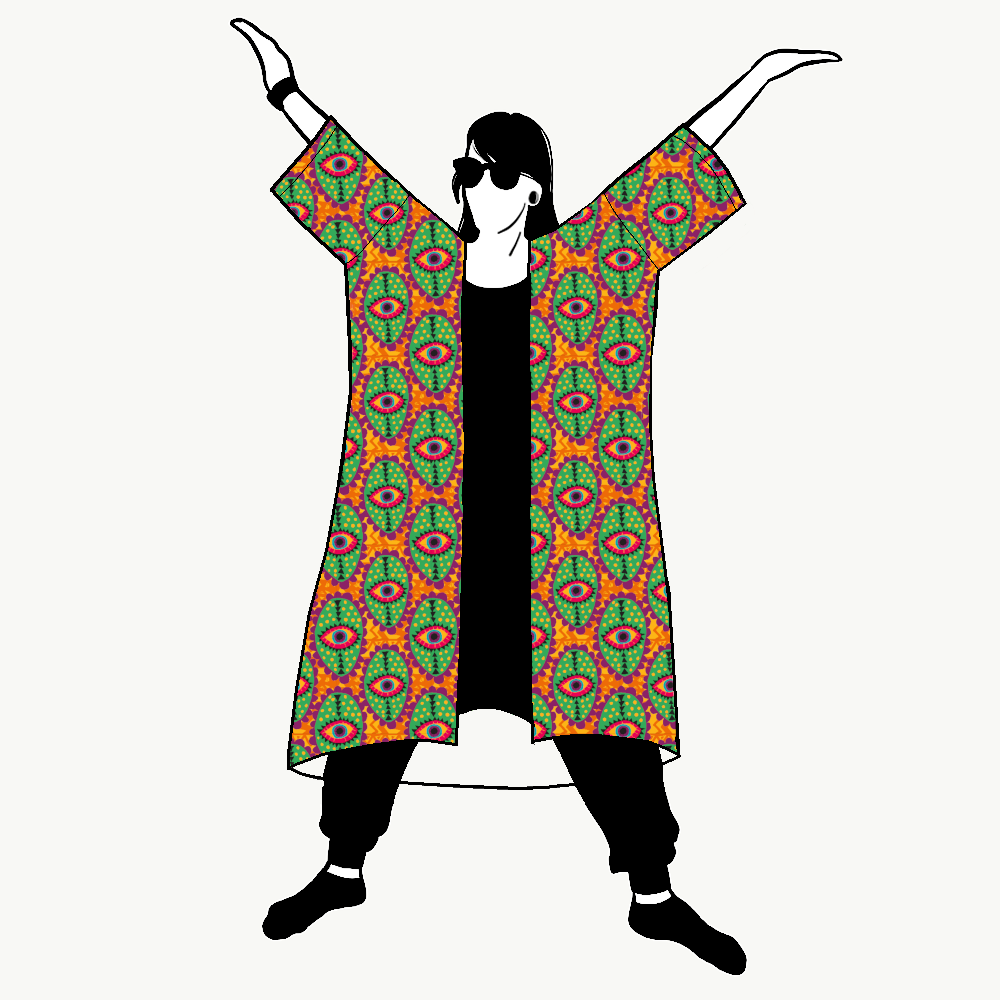 Boho Eyes Orange Jersey kimono