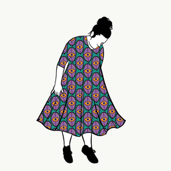 Boho Eyes Petrol/Purple groove dress 3/4 ärm