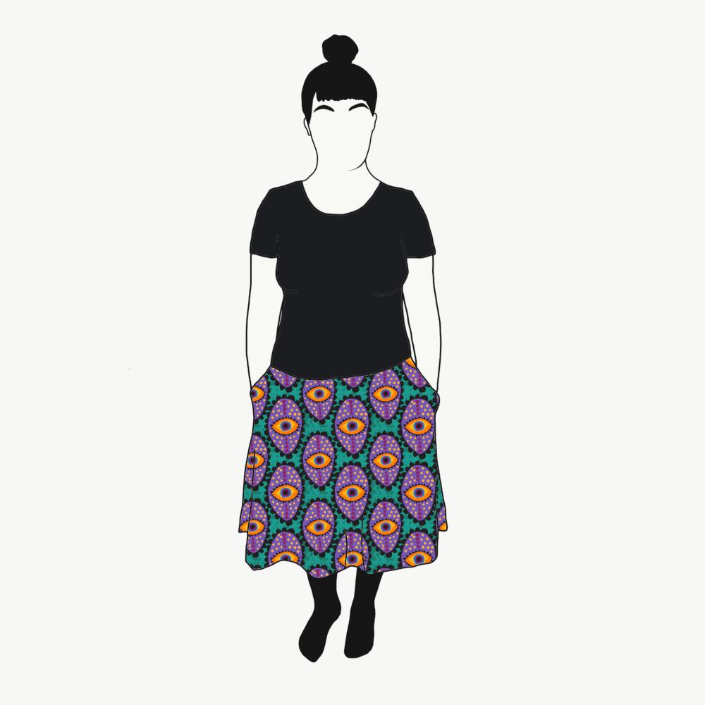 Boho Eyes Petrol/Purple kjol