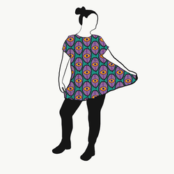 Boho Eyes Petrol/Purple A-linje tunika kort ärm