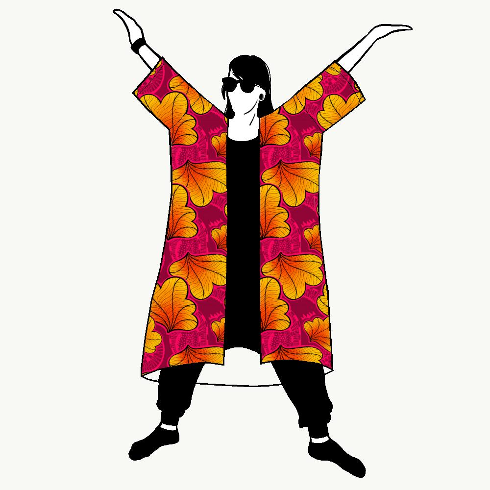 Funky Leaf Pink/Orange Jersey kimono