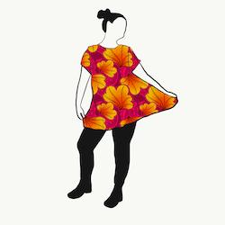 Funky Leaf Pink/Orange A-linje tunika kort ärm