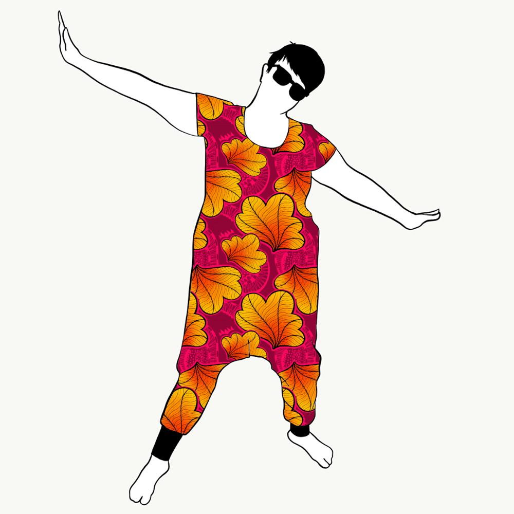 Funky Leaf Pink/Orange haremjumpsuit kort ärm
