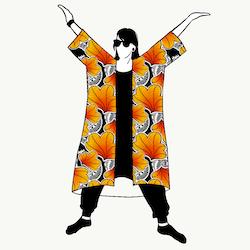 Funky Leaf Orange Jersey kimono