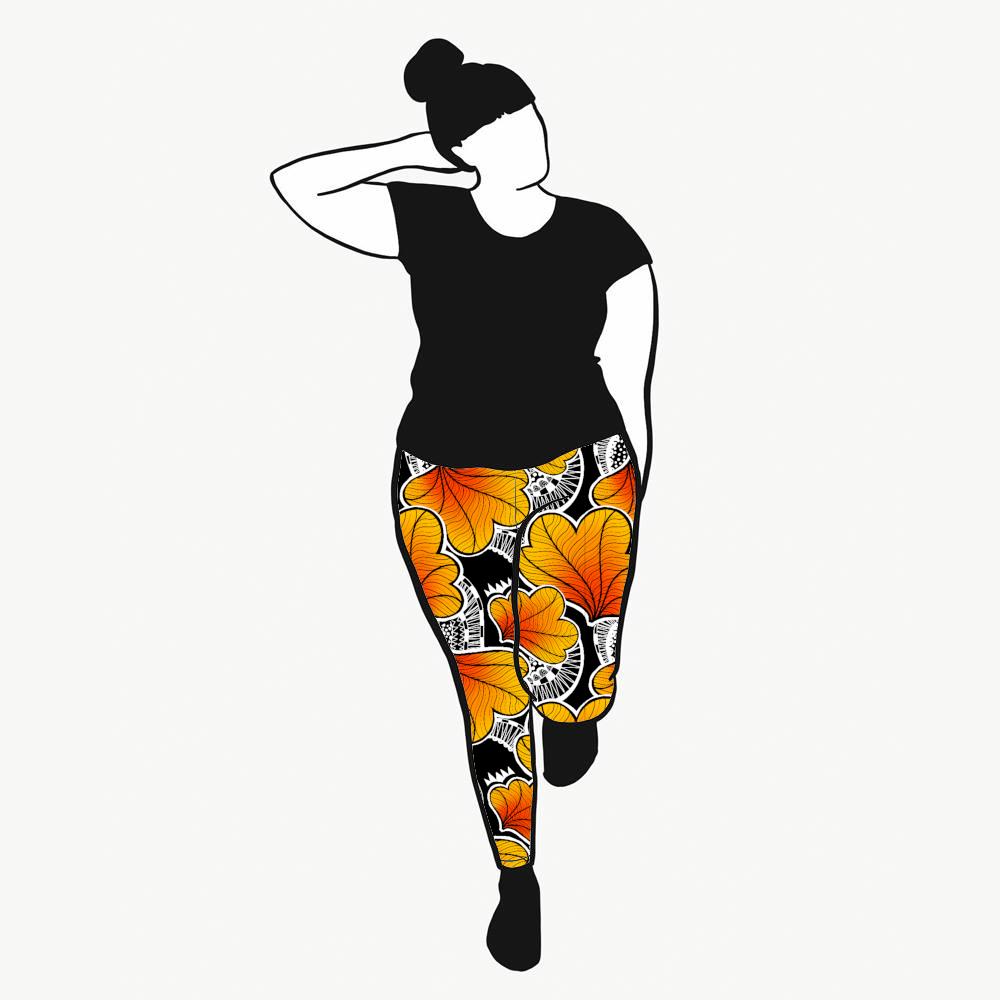Funky Leaf Orange Leggings