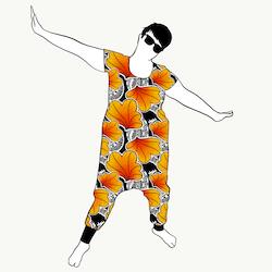 Funky Leaf Orange haremjumpsuit kort ärm