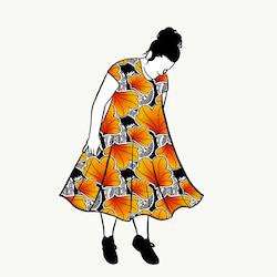 Funky Leaf Orange groove dress kort ärm