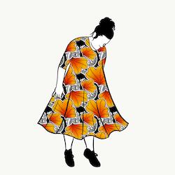 Funky Leaf Orange groove dress 3/4 ärm