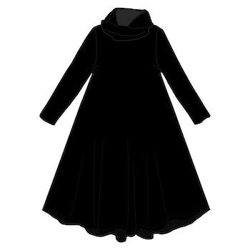 Svart Groove dress med krage. Lång ärm