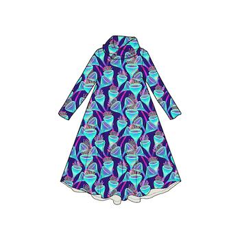 Magic Mushroom Groove dress med krage. Lång ärm