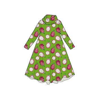 Dragon Fruit Groove dress med krage. Lång ärm