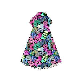 Softa Pastell Groove dress med krage. Kort ärm