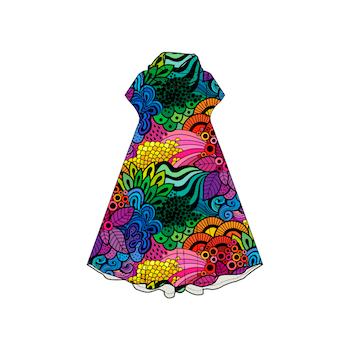 Groovy Rainbow Groove dress med krage. Kort ärm