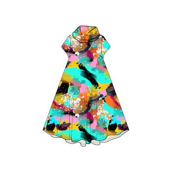 Paint Groove dress med krage. Kort ärm
