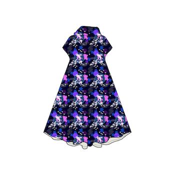 Koi Blue Groove dress med krage. Kort ärm