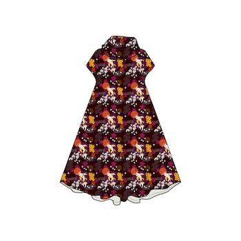 Koi Plum Groove dress med krage. Kort ärm