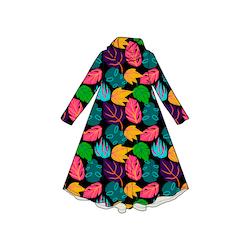 Leaf Groove dress med krage. Lång ärm