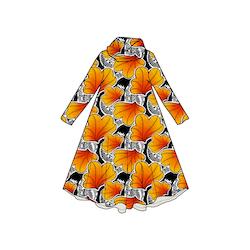 Funky Leaf Orange Groove dress med krage. Lång ärm