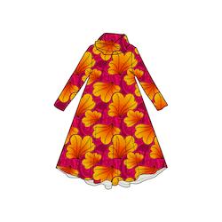 Funky Leaf Pink/Orange Groove dress med krage. Lång ärm