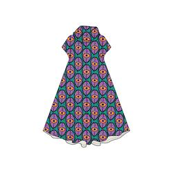 Boho Eyes Petrol/Purple Groove dress med krage. Kort ärm