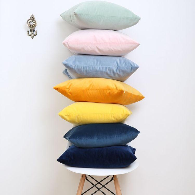 Kuddfodral - Sammet - Blå