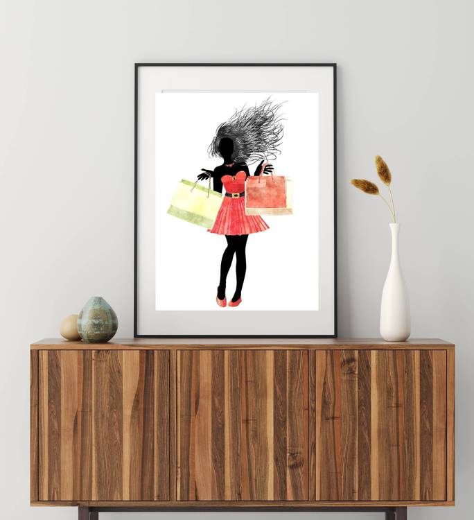Posters - Abstrakt shoppingkvinna