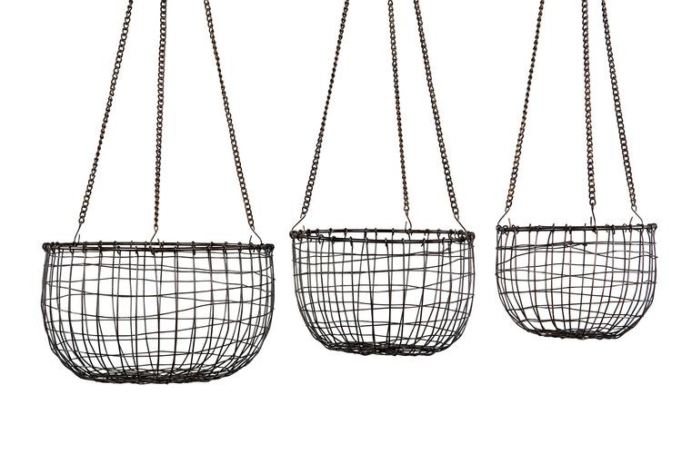3 st hängande metallkorgar