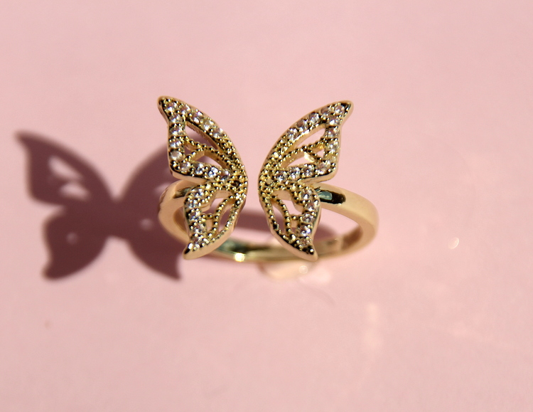 18K GOLD PLATED BUTTERFLY OPEN RING