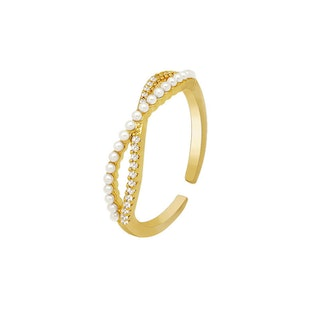 CROSS PEARL RING 14K GOLD PLATED