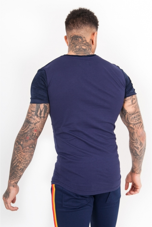 Sixth June - 4 colors taping T-Shirt - Marinblå