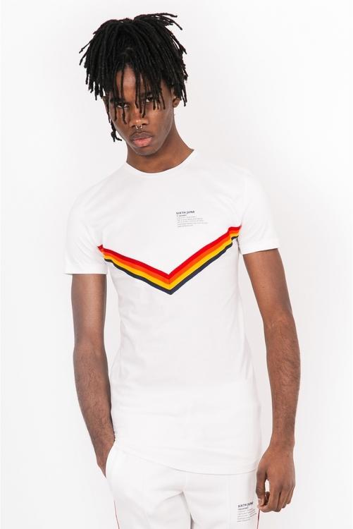 Sixth June - 4 colors taping T-Shirt - Vit