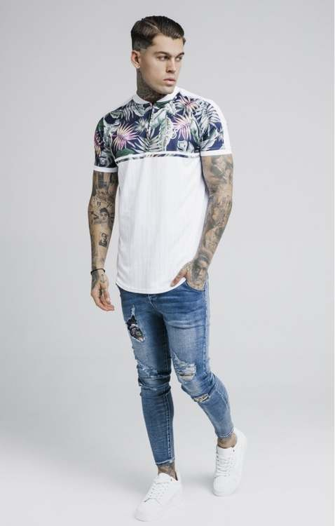 SikSilk - Jeremy Vine Baseball T-shirt - Vit