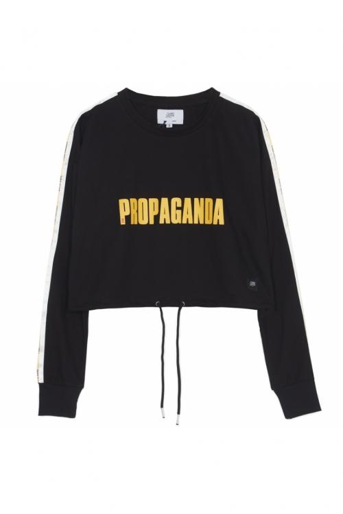 Sixth June - Propaganda Crop Top Sweatshirt - black
