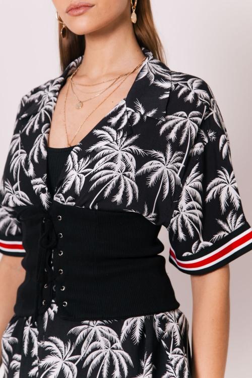 Sixth June - Oversize Palm Trees taping Shirt - black