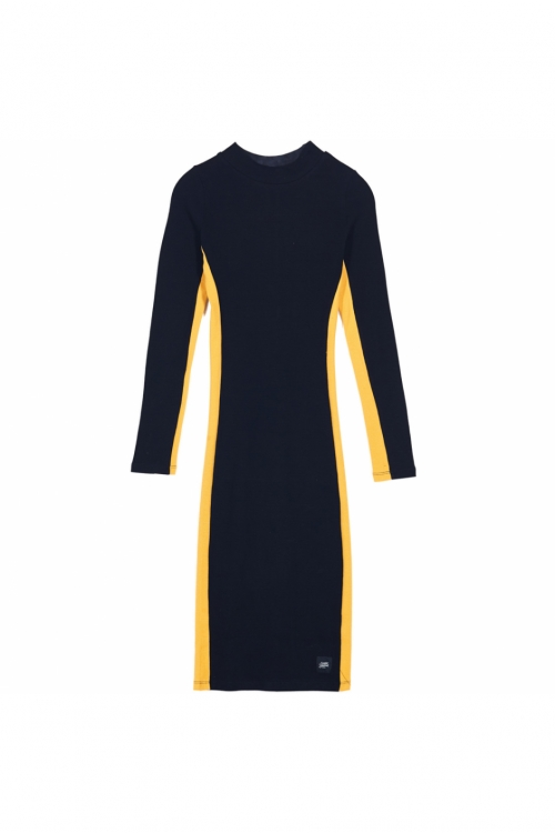 Sixth June - Ribbed Bodycon Dress - black and yellow