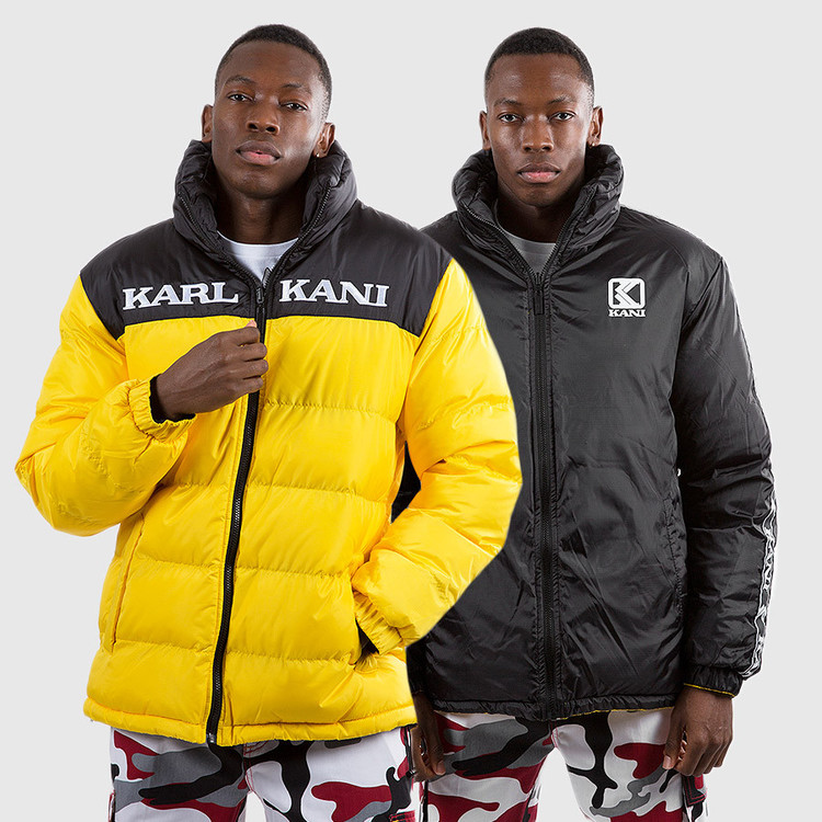 KARL KANI - Retro Reversible Puffer Jacka - gul/svart