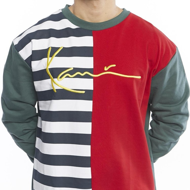 KARL KANI - Signature Block Crew tröja - navy/vit/röd/grön