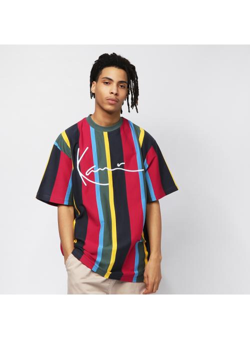 KARL KANI - Signature Stripe T-shirt - grön/gul/svart