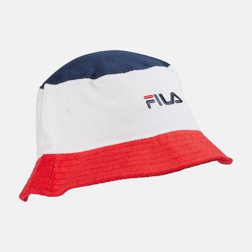 FILA - BLOCKED Bucket Hatt - vit / röd / marinblå