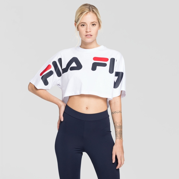 FILA - BARR Block and Logos Cropped wide T-shirt - Vit