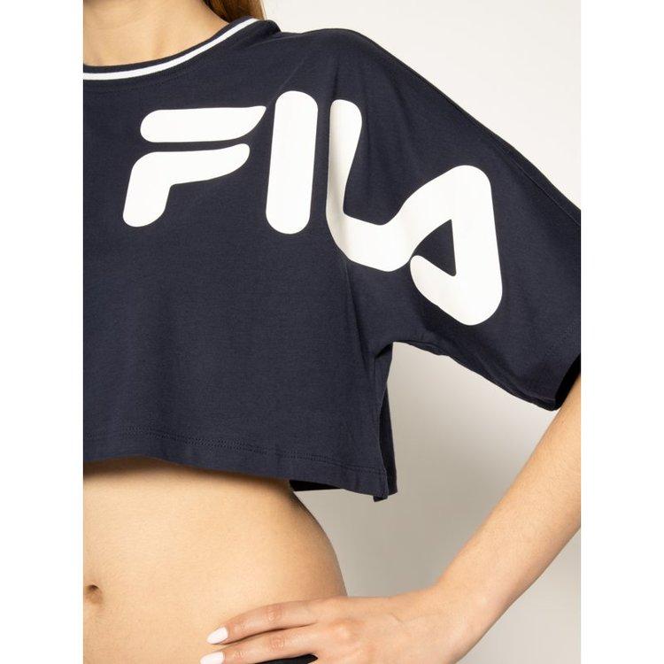 FILA - BARR Block and Logos Cropped wide T-shirt - Marinblå