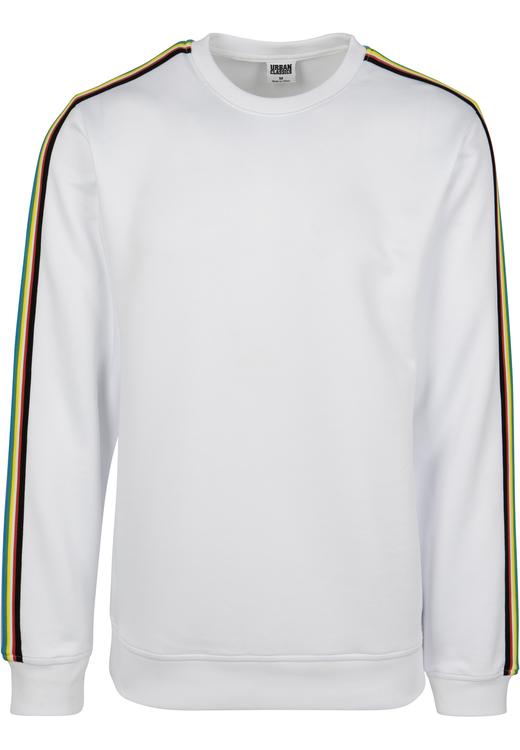 URBAN CLASSICS - Multicolor Taped Sleeve Crewneck - Vit